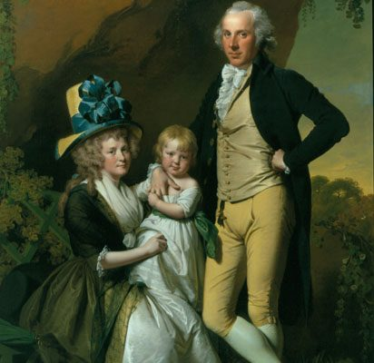 Wright of Derby - Richard Arkwright with his Wife Mary & Daughter Anne